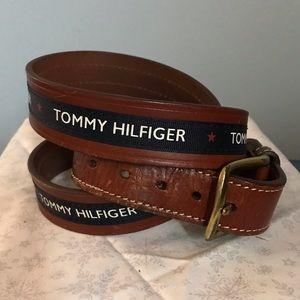 Tommy Hilfiger Leather & Ribbon Belt Sz 42